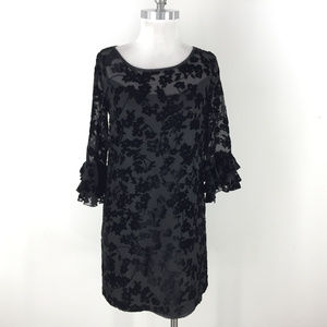 Jessica Howard S 6 P Black Velvet Flocked dress